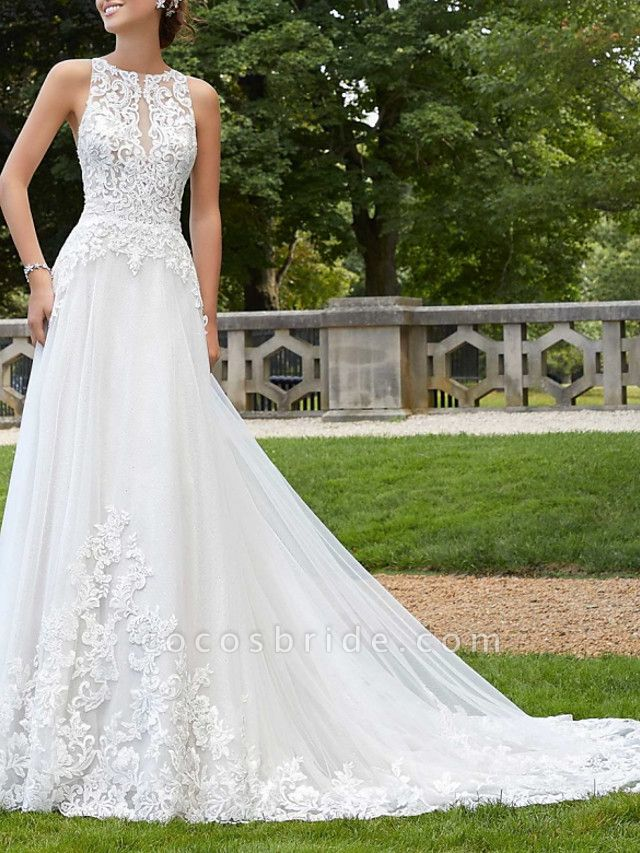 A-Line Wedding Dresses Jewel Neck Court Train Lace Tulle Sleeveless Sexy Backless