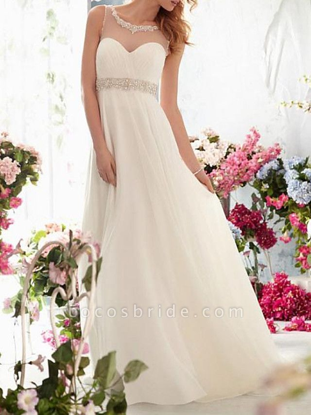 A-Line Wedding Dresses Jewel Neck Sweep \ Brush Train Chiffon Tulle Sleeveless Simple Beach See-Through Backless