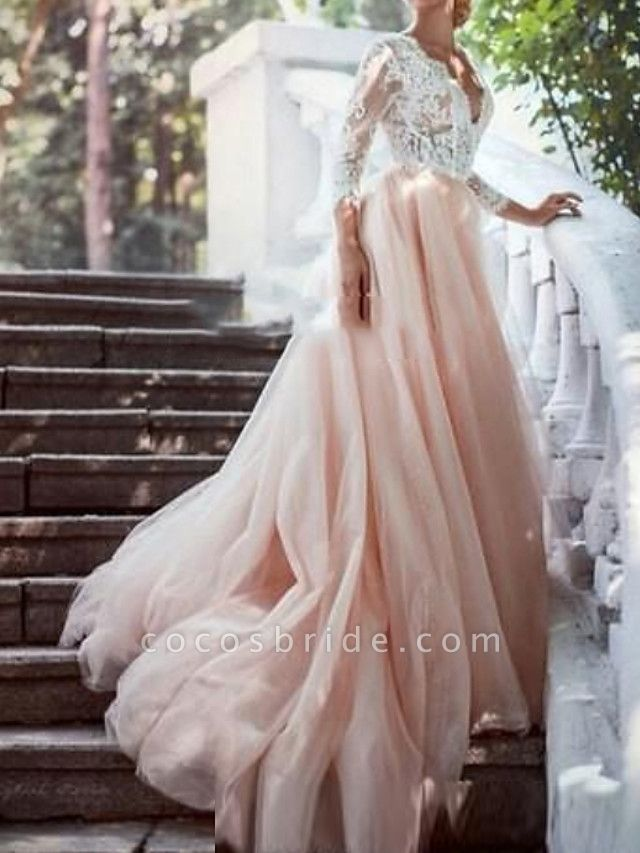 A-Line Wedding Dresses Plunging Neck Sweep \ Brush Train Polyester 3\4 Length Sleeve Country Plus Size