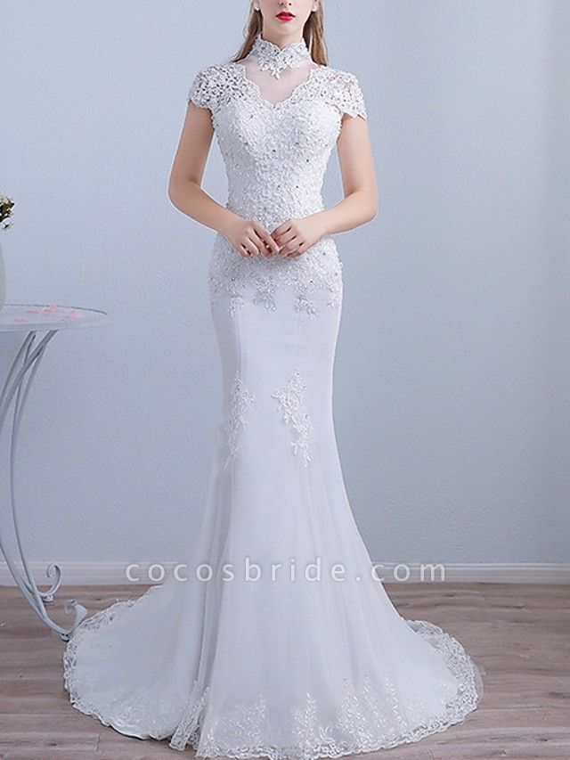 Mermaid \ Trumpet Wedding Dresses High Neck Sweep \ Brush Train Lace Short Sleeve Beach