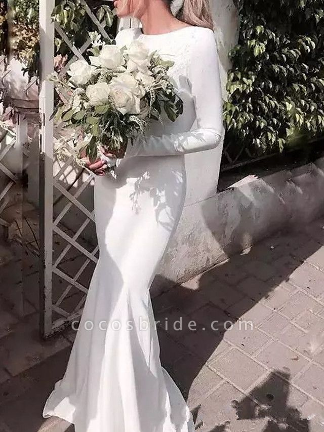Mermaid \ Trumpet Jewel Neck Floor Length Satin Long Sleeve Casual Plus Size Wedding Dresses
