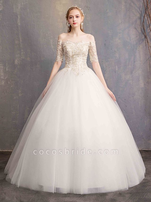 Ball Gown Wedding Dresses Off Shoulder Floor Length Tulle Lace Over Satin Half Sleeve Glamorous Illusion Detail