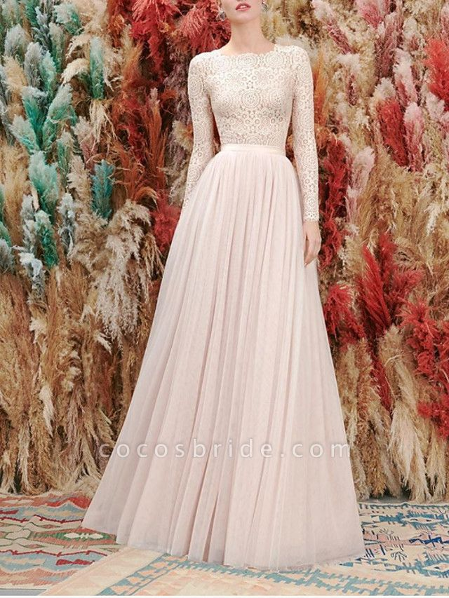 A-Line Wedding Dresses Jewel Neck Floor Length Lace Tulle Long Sleeve Romantic Wedding Dress in Color
