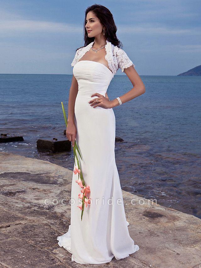 Mermaid \ Trumpet Wedding Dresses Strapless Sweep \ Brush Train Chiffon Short Sleeve Vintage Separate Bodies