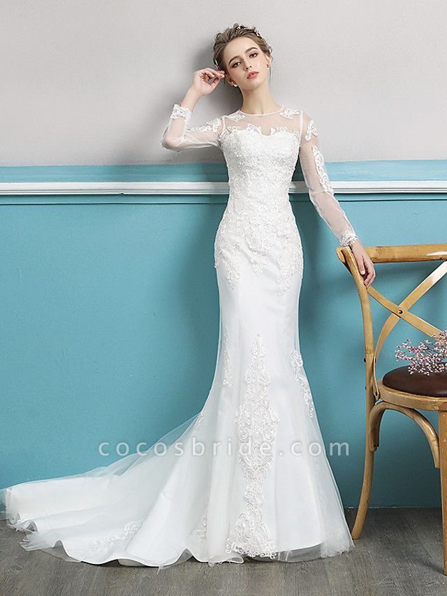 Mermaid \ Trumpet Wedding Dresses Jewel Neck Court Train Lace Tulle Polyester Long Sleeve Sexy Illusion Sleeve
