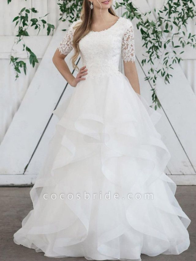 Ball Gown Wedding Dresses Jewel Neck Sweep \ Brush Train Lace Organza Short Sleeve Vintage