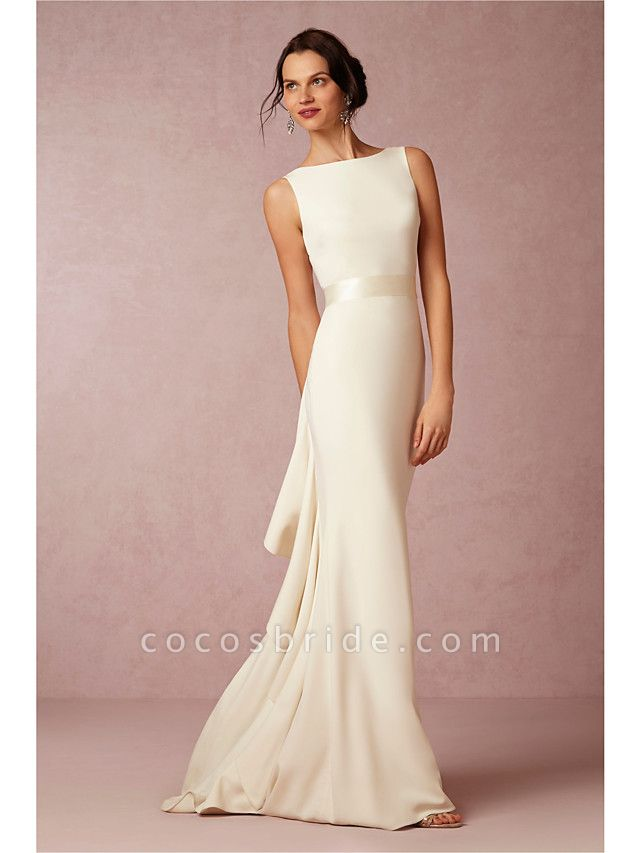 Sheath \ Column Wedding Dresses Bateau Neck Sweep \ Brush Train Satin Regular Straps Vintage Sparkle & Shine