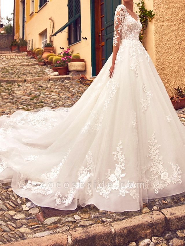 A-Line Jewel Neck Sweep \ Brush Train Lace Tulle 3\4 Length Sleeve Formal Sexy Illusion Sleeve Wedding Dresses