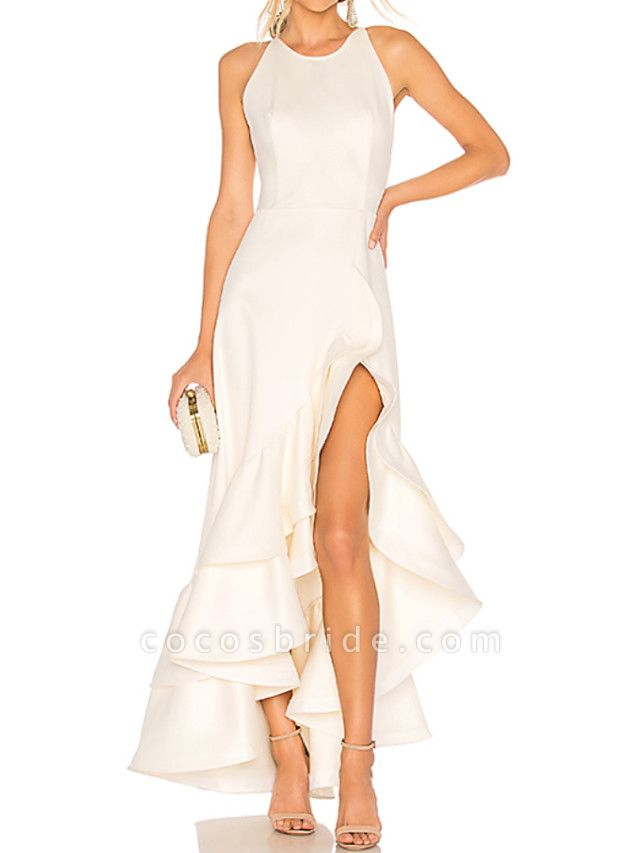 A-Line Wedding Dresses Jewel Neck Ankle Length Satin Tulle Regular Straps