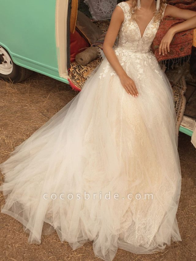 A-Line Wedding Dresses V Neck Sweep \ Brush Train Lace Tulle Jersey Sleeveless Country Plus Size