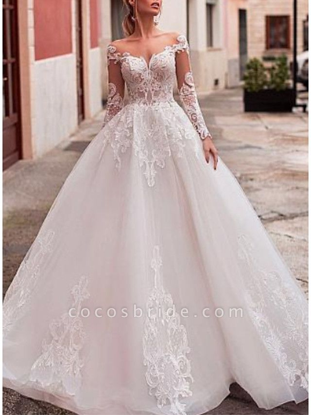 A-Line V Neck Court Train Lace Organza Long Sleeve Romantic See-Through Backless Illusion Sleeve Wedding Dresses