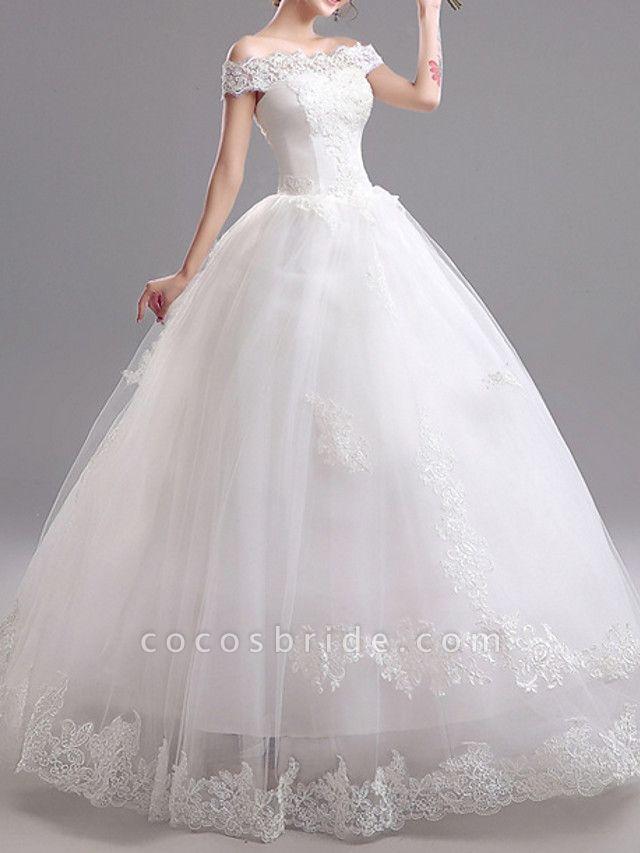 A-Line Wedding Dresses Off Shoulder Floor Length Tulle Short Sleeve Glamorous Illusion Detail
