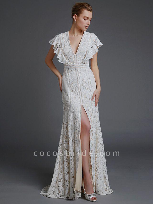 A-Line V Neck Sweep \ Brush Train Lace Sleeveless Boho Wedding Dresses