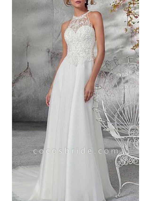 A-Line Wedding Dresses High Neck Court Train Chiffon Tulle Regular Straps