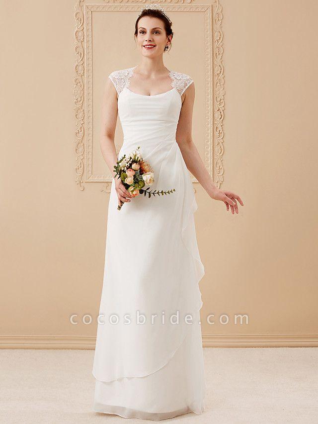 Sheath \ Column Wedding Dresses Square Neck Floor Length Chiffon Lace Cap Sleeve Simple Illusion Detail