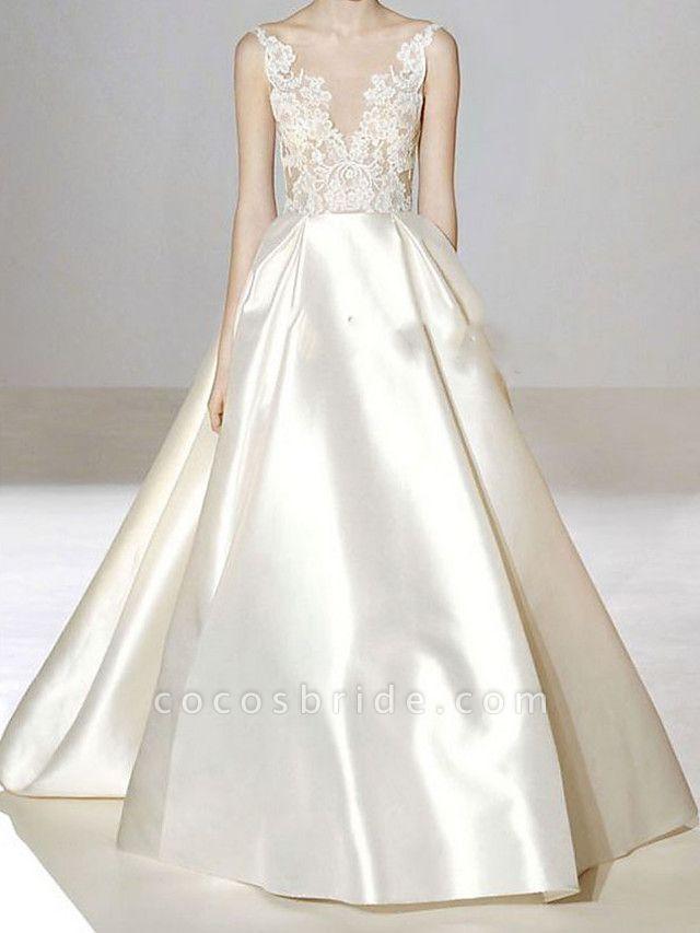 A-Line V Neck Sweep \ Brush Train Lace Tulle Regular Straps Formal Plus Size Wedding Dresses