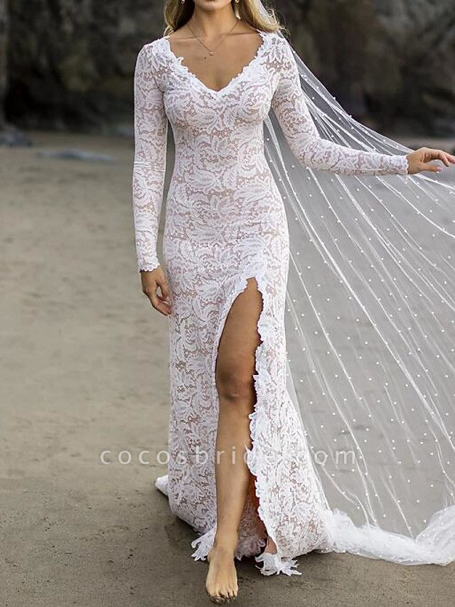 Mermaid \ Trumpet Wedding Dresses V Neck Sweep \ Brush Train Lace Satin Long Sleeve Country Plus Size