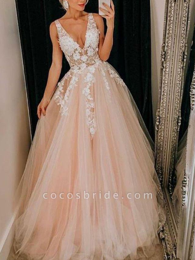A-Line Wedding Dresses V Neck Floor Length Lace Tulle Regular Straps Boho Plus Size
