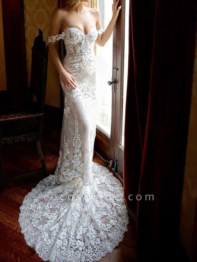 Sheath \ Column Sweetheart Neckline Chapel Train Lace Sleeveless Vintage Sexy Wedding Dress in Color Wedding Dresses