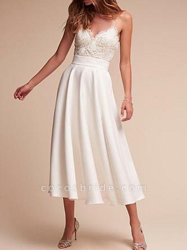 A-Line Wedding Dresses V Neck Tea Length Satin Spaghetti Strap Formal Illusion Detail