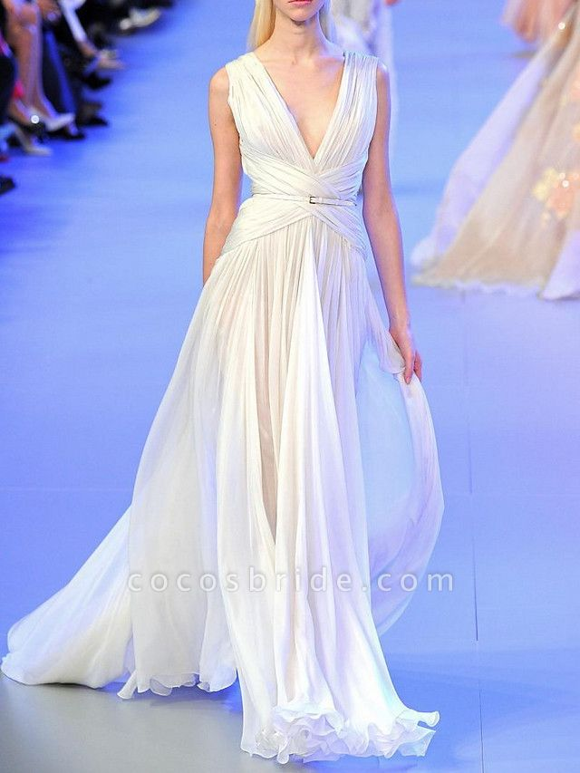 A-Line Wedding Dresses V Neck Sweep \ Brush Train Tulle Regular Straps Casual Plus Size