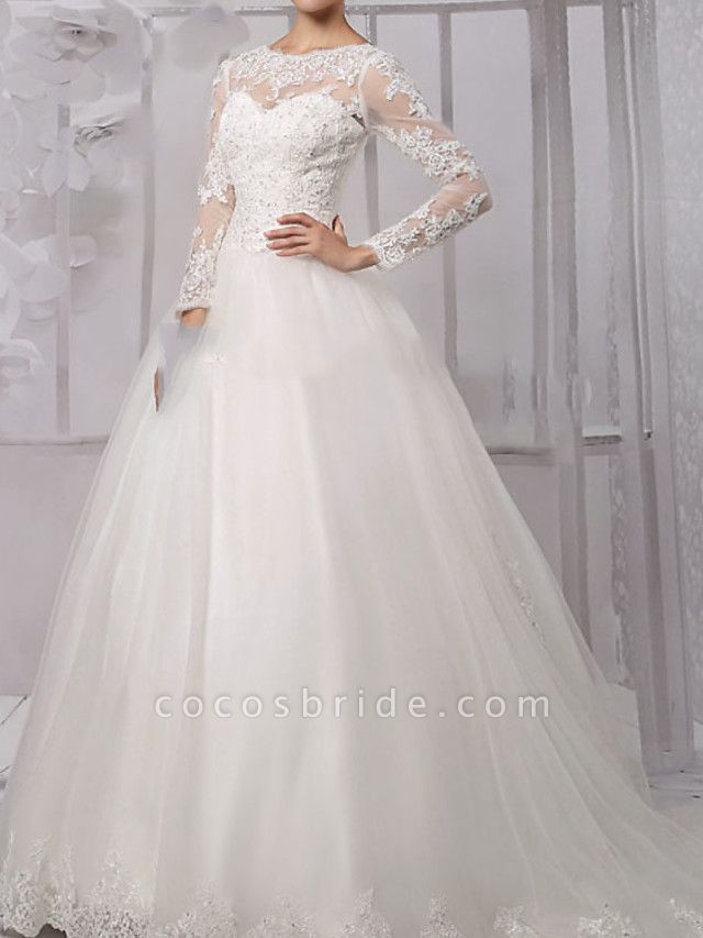 Ball Gown Wedding Dresses Jewel Neck Sweep \ Brush Train Lace Tulle Long Sleeve Formal