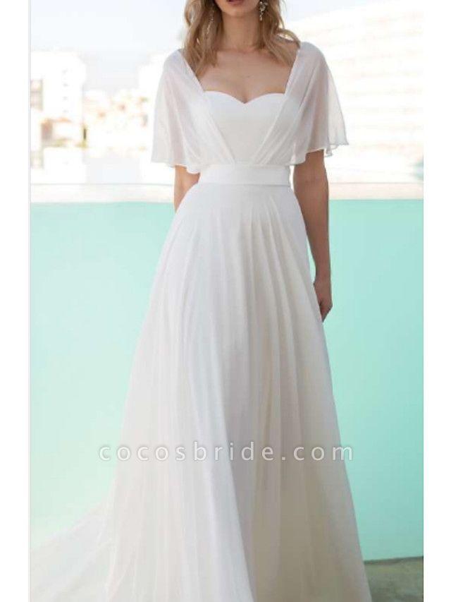 A-Line Wedding Dresses Scoop Neck Floor Length Chiffon Charmeuse Short Sleeve
