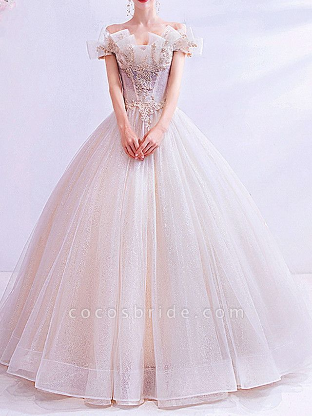 Ball Gown Wedding Dresses Off Shoulder Sweep \ Brush Train Chiffon Tulle Short Sleeve Country Illusion Detail Plus Size