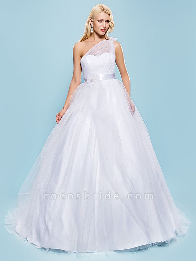 Ball Gown Wedding Dresses One Shoulder Court Train Tulle Sleeveless