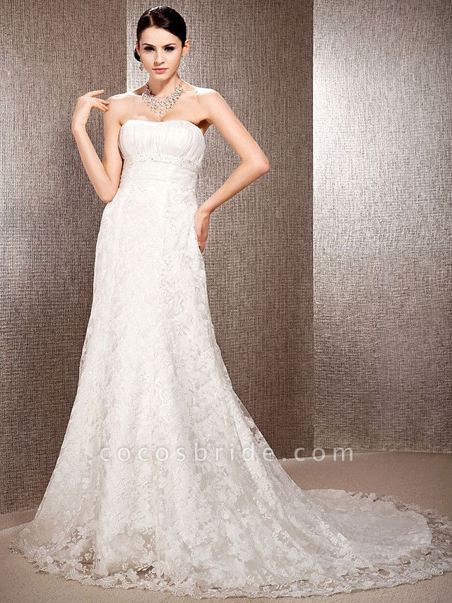 Princess A-Line Wedding Dresses Sweetheart Neckline Court Train Lace Sleeveless Floral Lace