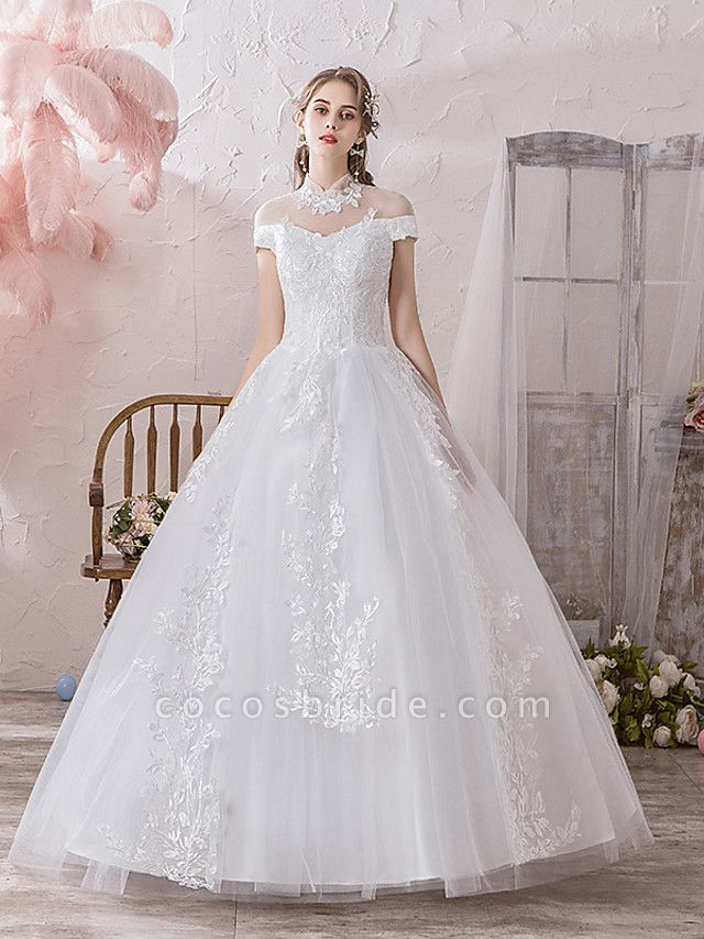 Ball Gown Wedding Dresses High Neck Floor Length Lace Tulle Polyester Sleeveless Formal Romantic