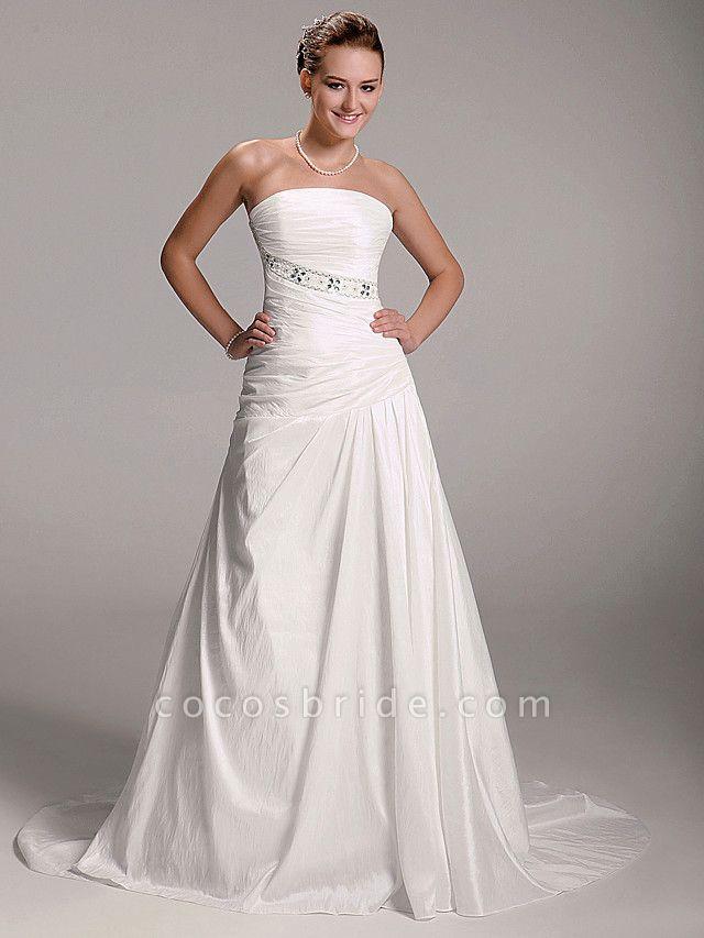 Princess A-Line Wedding Dresses Strapless Court Train Taffeta Sleeveless