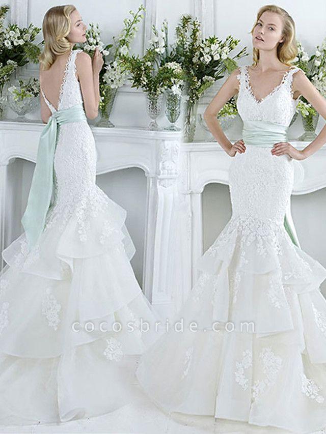Mermaid \ Trumpet Wedding Dresses V Neck Court Train Lace Tulle Sleeveless Sexy Plus Size