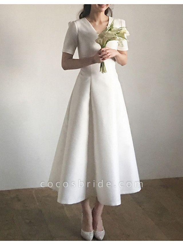 A-Line Wedding Dresses V Neck Sweep \ Brush Train Satin Short Sleeve Cap Sleeve Formal Simple Vintage Plus Size 1950s