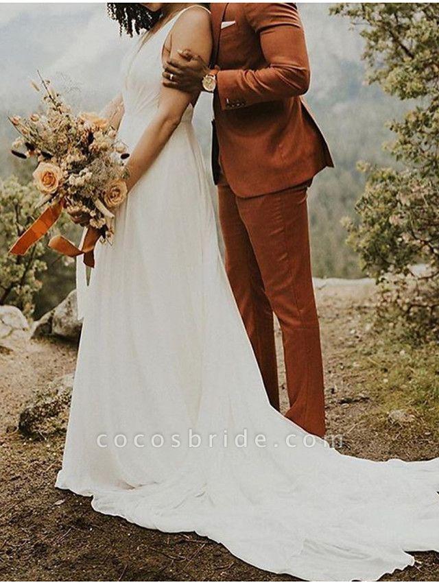 A-Line Wedding Dresses V Neck Sweep \ Brush Train Polyester Spaghetti Strap Formal Plus Size