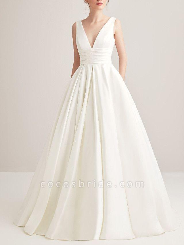 A-Line Wedding Dresses V Neck Court Train Satin Regular Straps