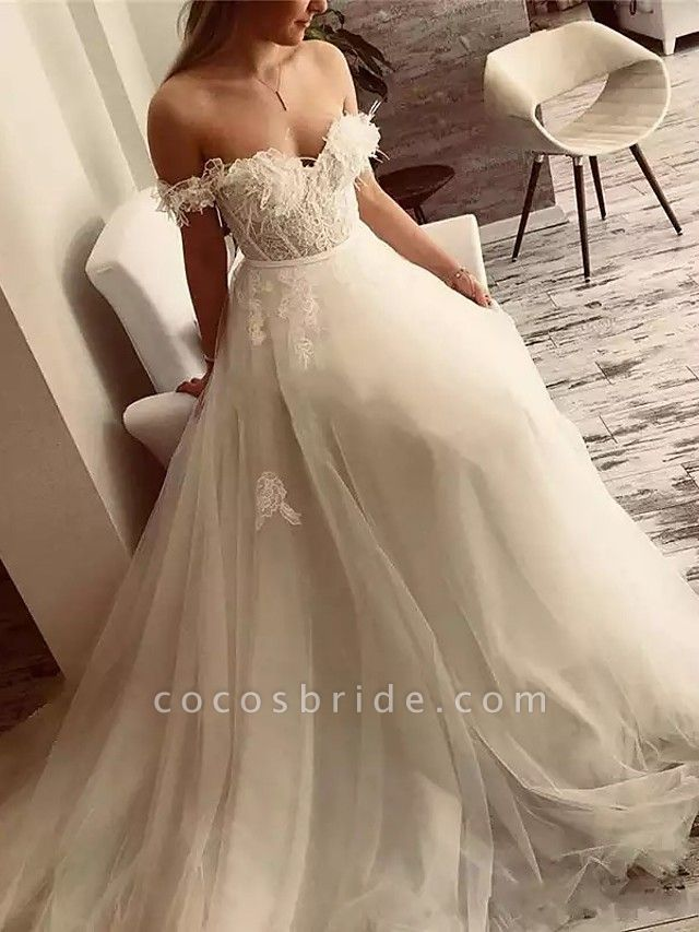 A-Line Wedding Dresses Off Shoulder Sweep \ Brush Train Lace Tulle Short Sleeve Sexy Plus Size