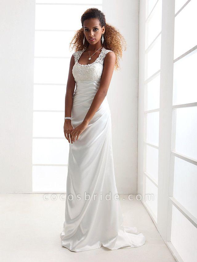 Sheath \ Column Wedding Dresses Scoop Neck Sweep \ Brush Train Charmeuse Beaded Lace Cap Sleeve Simple Backless
