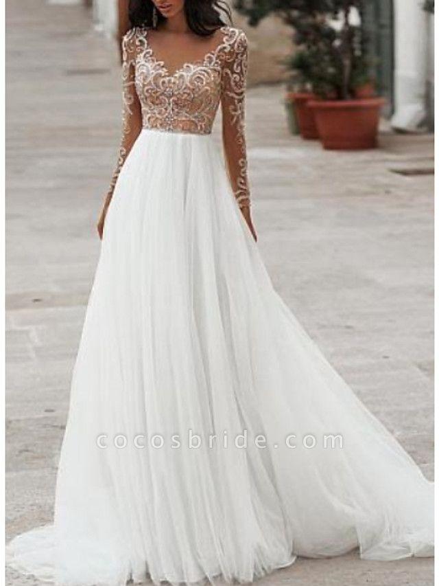 A-Line Wedding Dresses V Neck Floor Length Tulle Long Sleeve Romantic Beach Boho See-Through Illusion Sleeve