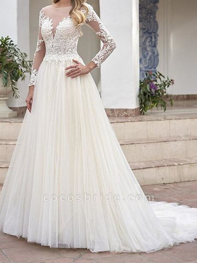 A-Line Wedding Dresses Jewel Neck Sweep \ Brush Train Lace Tulle Long Sleeve Country See-Through Plus Size