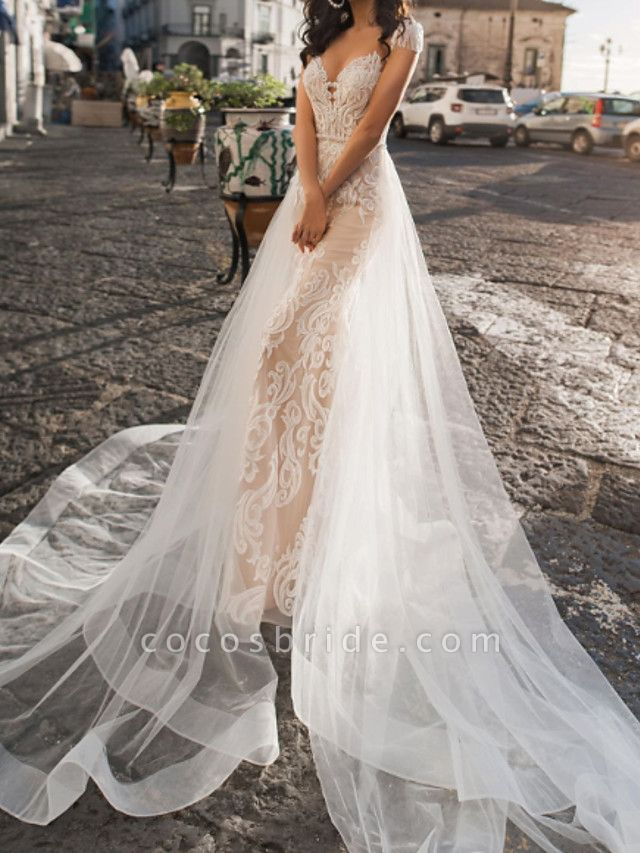 A-Line V Neck Sweep \ Brush Train Tulle Short Sleeve Country Plus Size Wedding Dresses
