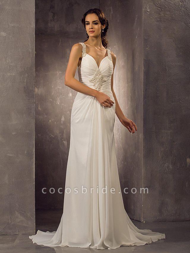 Sheath \ Column Wedding Dresses Sweetheart Neckline Sweep \ Brush Train Chiffon Regular Straps