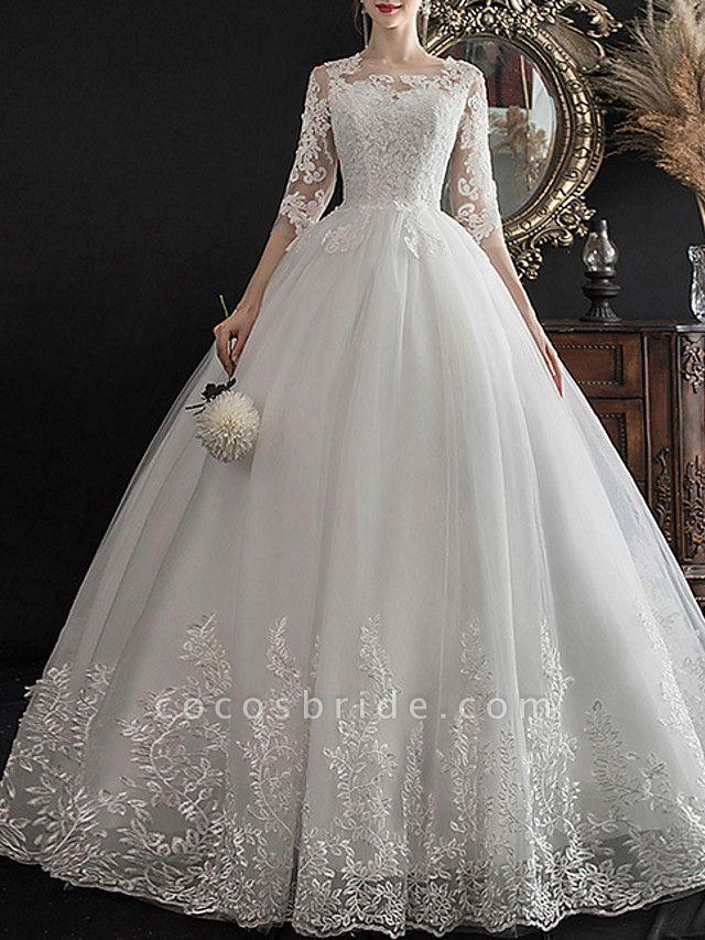 A-Line Wedding Dresses Jewel Neck Sweep \ Brush Train Lace Half Sleeve Glamorous See-Through Illusion Sleeve