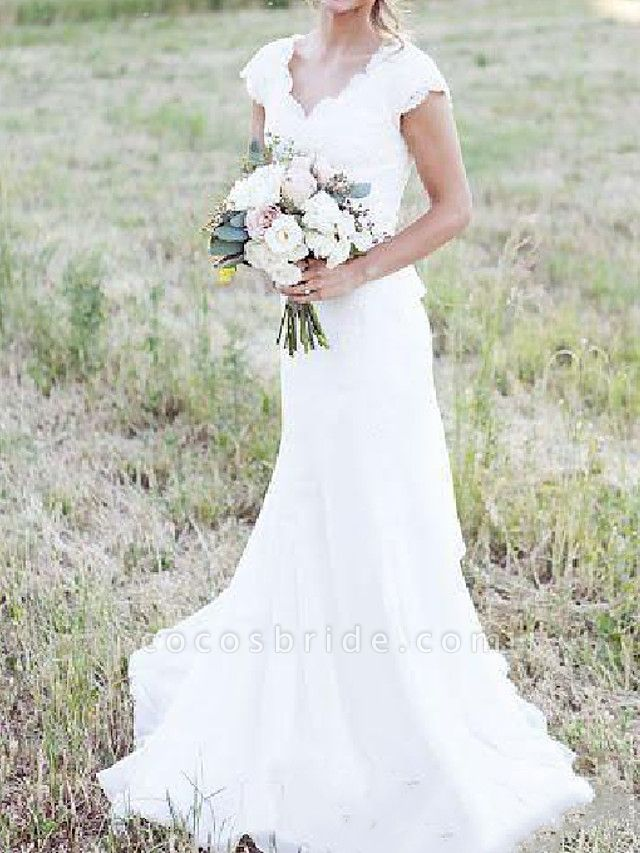 A-Line Wedding Dresses V Neck Sweep \ Brush Train Lace Tulle Cap Sleeve Country Plus Size