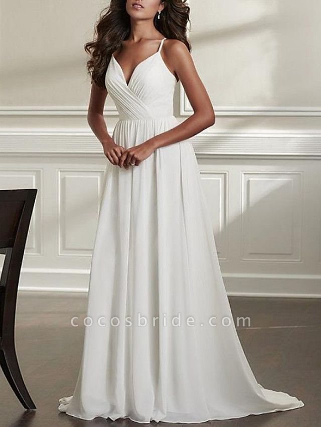 A-Line Wedding Dresses Spaghetti Strap Sweep \ Brush Train Chiffon Over Satin Sleeveless Simple Beach Sexy Backless