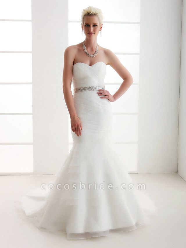 Mermaid \ Trumpet Wedding Dresses Sweetheart Neckline Court Train Organza Satin Sleeveless