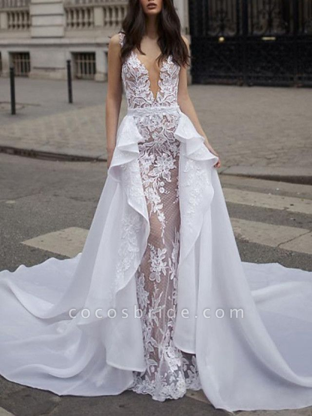 A-Line Wedding Dresses Plunging Neck Sweep \ Brush Train Detachable Lace Tulle Chiffon Over Satin Sleeveless Romantic Sexy See-Through