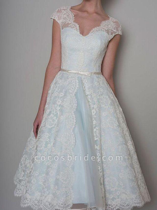 A-Line Wedding Dresses Sweetheart Neckline Knee Length Lace Satin Sleeveless Vintage 1950s Cape