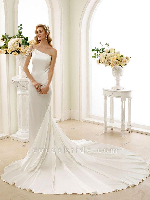 Mermaid \ Trumpet Wedding Dresses One Shoulder Sweep \ Brush Train Stretch Satin Regular Straps Simple Sexy Modern Elegant