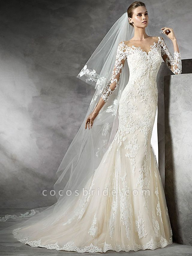 Mermaid \ Trumpet Wedding Dresses V Neck Sweep \ Brush Train Lace 3\4 Length Sleeve Sexy Illusion Sleeve